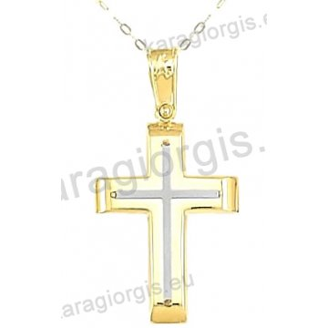 Χρυσός βαπτιστικός σταυρός για αγόρι με αλυσίδα με ένθετο σταυρό σε λουστρέ φινίρισμα σε 14 καράτια.