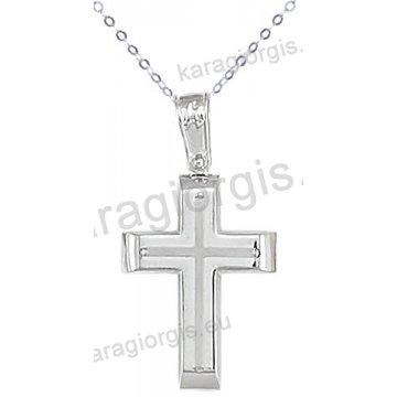 Λευκόχρυσος βαπτιστικός σταυρός K14 για αγόρι με αλυσίδα με ένθετο σταυρό σε λουστρέ φινίρισμα.