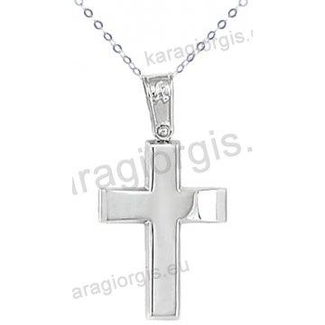 Λευκόχρυσος βαπτιστικός σταυρός K14 για αγόρι με αλυσίδα σε λουστρέ φινίρισμα κλασικός.