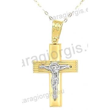 Χρυσός βαπτιστικός σταυρός για αγόρι με αλυσίδα με ένθετο εσταυρωμένο σε λουστρέ-ματ φινίρισμα σε 14 καράτια.