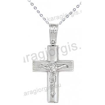 Λευκόχρυσος βαπτιστικός σταυρός K14 για αγόρι με αλυσίδα με ένθετο εσταυρωμένο σε λουστρέ-ματ φινίρισμα.