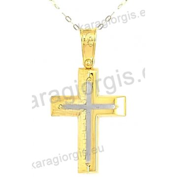 Χρυσός βαπτιστικός σταυρός για αγόρι με αλυσίδα με ένθετο σταυρό σε λουστρέ-σαγρέ φινίρισμα σε 14 καράτια.