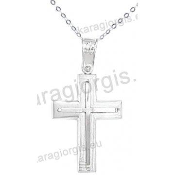 Λευκόχρυσος βαπτιστικός σταυρός K14 για αγόρι με αλυσίδα με ένθετο σταυρό σε λουστρέ-ματ φινίρισμα.