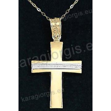 Χρυσός βαπτιστικός σταυρός για κορίτσι με αλυσίδα με λουστρέ φινίρισμα και ένθετο λευκόχρυσο σαγρέ σε 14 καράτια.