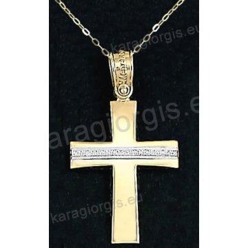Χρυσός βαπτιστικός σταυρός για κορίτσι με αλυσίδα με λουστρέ φινίρισμα και ένθετο λευκόχρυσο σαγρέ σε 14 καράτια με πέτρες ζιργκόν.
