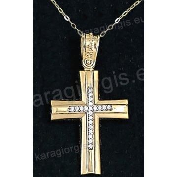 Χρυσός βαπτιστικός σταυρός για κορίτσι με αλυσίδα με λουστρέ-ματ φινίρισμα και ένθετο λευκόχρυσο σταυρό σε 14 καράτια με πέτρες ζιργκόν.