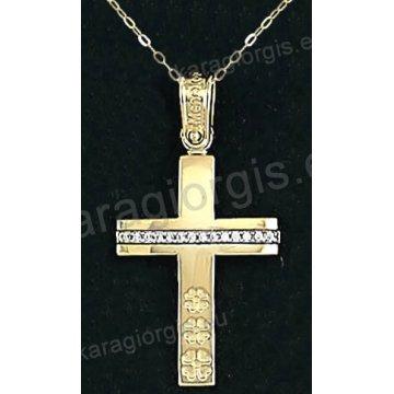 Χρυσός βαπτιστικός σταυρός για κορίτσι με αλυσίδα με λουστρέ φινίρισμα και ένθετα λουλουδάκια σε 14 καράτια.
