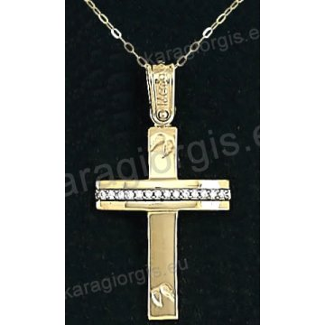 Χρυσός βαπτιστικός σταυρός για κορίτσι με αλυσίδα με λουστρέ φινίρισμα και ένθετα φτερά σε 14 καράτια με πέτρες ζιργκόν.