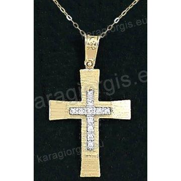 Χρυσός βαπτιστικός σταυρός για κορίτσι με αλυσίδα με σαγρέ φινίρισμα και ένθετο λευκόχρυσο σταυρό σε 14 καράτια με πέτρες ζιργκόν.