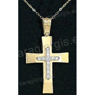 Χρυσός βαπτιστικός σταυρός για κορίτσι με αλυσίδα με λουστρέ φινίρισμα και ένθετο λευκόχρυσο σταυρό σε 14 καράτια με πέτρες ζιργκόν.