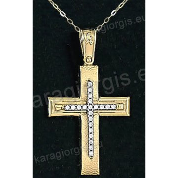 Χρυσός βαπτιστικός σταυρός για κορίτσι με αλυσίδα με λουστρέ-σαγρέ φινίρισμα και ένθετο λευκόχρυσο σταυρό σε 14 καράτια με πέτρες ζιργκόν.