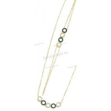 Σετ χρυσό σε Κ14 με κολιέ, βραχιόλι με στρογγυλές ροζέτες και άσπρες-πράσινες πέτρες ζιργκόν.