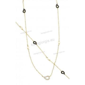 Σετ χρυσό σε Κ14 με κολιέ, βραχιόλι άσπρες πέρλες και περιμετρικά στοιχεία σε μαύρες πέτρες ζιργκόν.