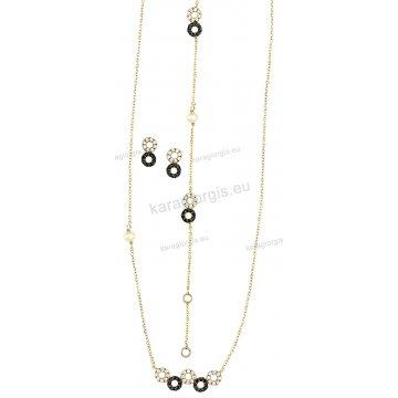 Σετ χρυσό σε Κ14 με κολιέ, βραχιόλι, σκουλαρίκια σε ροζέτες με άσπρες και μαύρες πέτρες ζιργκόν.