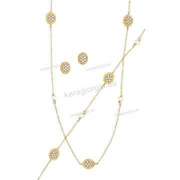 Σετ χρυσό σε Κ14 με κολιέ, βραχιόλι, σκουλαρίκια με άσπρες πέτρες ζιργκόν σε οβάλ κύκλους με σαγρέ φινίρισμα.