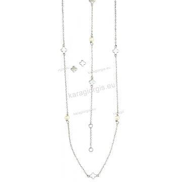 Σετ λευκόχρυσο σε Κ14 με κολιέ, βραχιόλι, σκουλαρίκια με περιμετρικά στοιχεία σε αστεράκια και πέρλες.