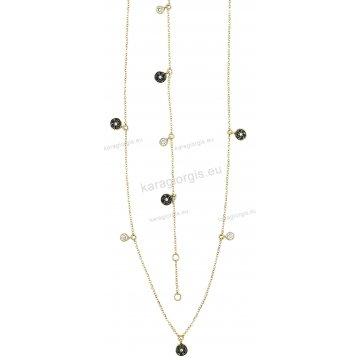 Σετ χρυσό σε Κ14 με κολιέ, βραχιόλι με περιμετρικά μονόπετρα κρεμαστά στοιχεία με άσπρες και μαύρες πέτρες ζιργκόν.