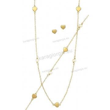 Σετ χρυσό σε Κ14 με κολιέ, βραχιόλι, σκουλαρίκια με περιμετρικά στοιχεία σε καρδούλες και άσπρες πέρλες.