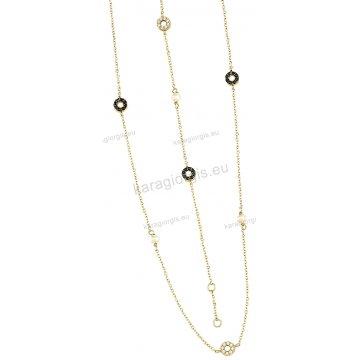 Σετ χρυσό σε Κ14 με κολιέ, βραχιόλι με περιμετρικές ροζετούλες με άσπρες-μαύρες πέτρες ζιργκόν και άσπρες πέρλες.