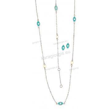 Σετ λευκόχρυσο σε Κ14 με κολιέ, βραχιόλι, σκουλαρίκια με περιμετρικά στοιχεία σε ματάκια και πέρλες.