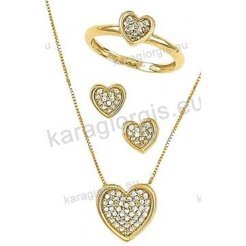 Σετ χρυσό σε Κ14 με κολιέ, σκουλαρίκια, δαχτυλίδι σε καρδιά με άσπρες πέτρες ζιργκόν.