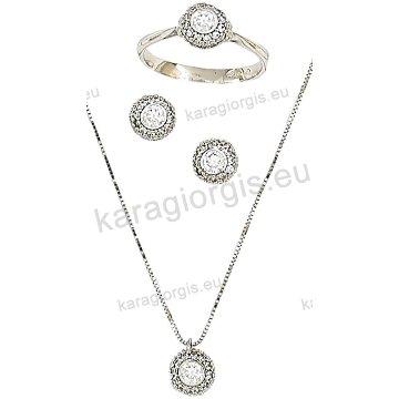 Σετ λευκόχρυσο σε Κ14 με κολιέ, σκουλαρίκια, δαχτυλίδι σε ροζέτα με άσπρες πέτρες ζιργκόν.