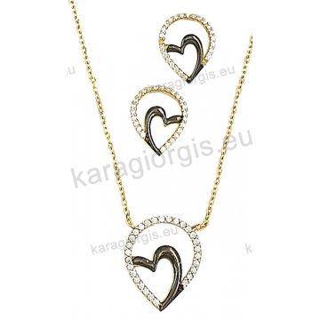 Σετ χρυσό σε Κ14 με κολιέ, σκουλαρίκια σε καρδιά με άσπρες πέτρες ζιργκόν και μαύρο χρυσό.