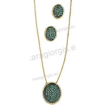 Σετ χρυσό σε Κ14 με κολιέ, σκουλαρίκια σε οβαλ ροζέτα με πράσινες πέτρες ζιργκόν και μαύρο χρυσό.