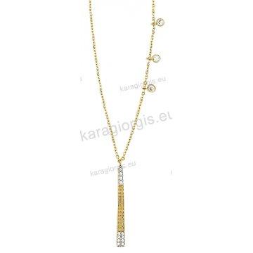 Κολιέ χρυσό σε Κ14 σε κρεμαστή γραβάτα με περιμετρικά μονόπετρα με άσπρες  πέτρες ζιργκόν. b56d89cbcea