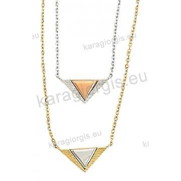 Κολιέ χρυσό ή λευκόχρυσο σε Κ14 με τρίγωνο μοτιφάκι σε σαγρέ φινίρισμα.