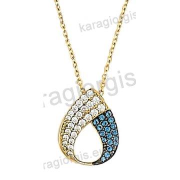 Κολιέ χρυσό σε Κ14 με κρεμαστό δάκρυ με άσπρες και σιέλ πέτρες ζιργκόν. 9f542e548ab
