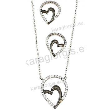 Σετ λευκόχρυσο σε Κ14 με κολιέ, σκουλαρίκια σε καρδιά με άσπρες πέτρες ζιργκόν και μαύρο χρυσό.