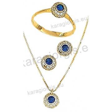Σετ χρυσό σε Κ14 με κολιέ, σκουλαρίκια, δαχτυλίδι σε ροζέτα με άσπρες πέτρες ζιργκόν.