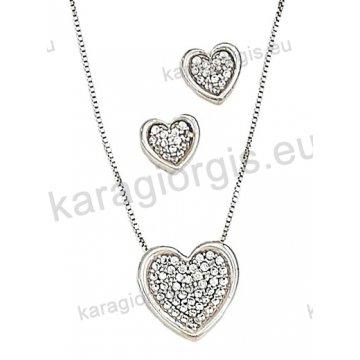 Σετ λευκόχρυσο σε Κ14 με κολιέ, σκουλαρίκια σε καρδιά με άσπρες πέτρες ζιργκόν.