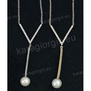 Κολιέ χρυσό ή λευκόχρυσο Κ14 σε κρεμαστή γραβάτα με πέρλα και άσπρες πέτρες ζιργκόν.