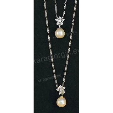 Κολιέ χρυσό ή λευκόχρυσο Κ14 με κρεμαστή πέρλα και άσπρες πέτρες ζιργκόν.