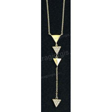Κολιέ χρυσό Κ14 σε κρεμαστή γραβάτα με τριγωνάκια με άσπρες πέτρες ζιργκόν.