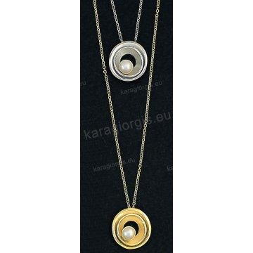 Κολιέ χρυσό ή λευκόχρυσο Κ14 με κρεμαστή πέρλα σε ματ φινίρισμα. 6a0206cbf93