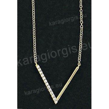 Κολιέ χρυσό Κ14 με άσπρες πέτρες ζιργκόν σε σχήμα V.