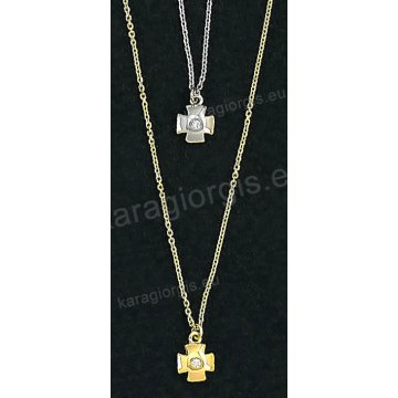 Κολιέ χρυσό ή λευκόχρυσο Κ14 με κρεμαστό σταυρουδάκι άσπρη πέτρα ζιργκόν και λουστρέ φινίρισμα.