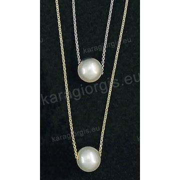 Κολιέ χρυσό ή λευκόχρυσο Κ14 με κρεμαστή πέρλα.