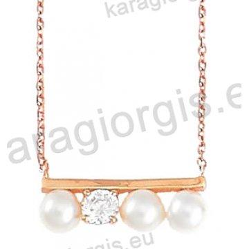 Κολιέ σε ροζ χρυσό Κ14 fashion jewellery με πέρλες και άσπρες πέτρες ζιργκόν.