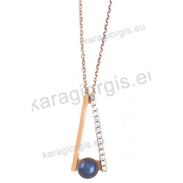 Κολιέ σε ροζ χρυσό Κ14 fashion jewellery σε γραβάτα με μαύρη πέρλα και άσπρες πέτρες ζιργκόν.