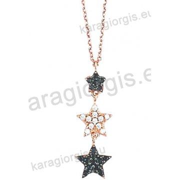Κολιέ σε ροζ χρυσό Κ14 fashion jewellery σε γραβάτα με κρεμαστά αστεράκια με άσπρες και μαύρες πέτρες ζιργκόν.