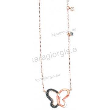 Κολιέ σε ροζ χρυσό Κ14 fashion jewellery με κρεμαστή πεταλούδα με μαύρες πέτρες ζιργκόν.