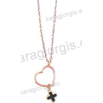 Κολιέ σε ροζ χρυσό Κ14 fashion jewellery με κρεμαστή καρδούλα και σταυρουδάκι με μαύρο σμάλτο.