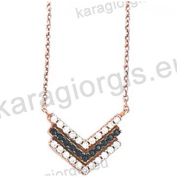 Κολιέ σε ροζ χρυσό Κ14 fashion jewellery με άσπρες και μαύρες πέτρες ζιργκόν.
