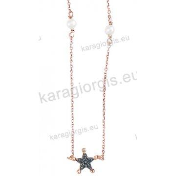Κολιέ σε ροζ χρυσό Κ14 fashion jewellery με αστεράκι και πέρλες με μαύρες πέτρες ζιργκόν.