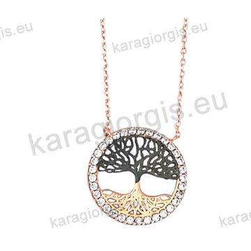 Κολιέ σε ροζ χρυσό Κ14 fashion jewellery με το δέντρο της ζωής με άσπρες πέτρες ζιργκόν και μαύρο χρυσό.