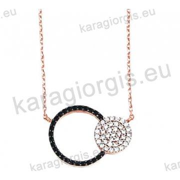 Κολιέ σε ροζ χρυσό Κ14 fashion jewellery με ομόκεντρους κύκλους με άσπρες και μαύρες πέτρες ζιργκόν.